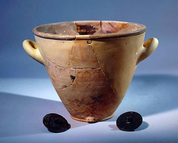 Terracotta clepsydra, a water clock from the Greek civilization, 5th century b.C.
