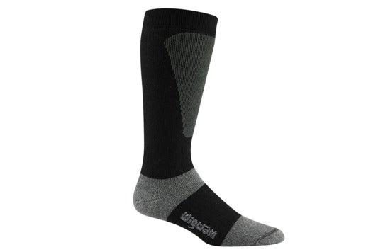 Black calf-length sock.