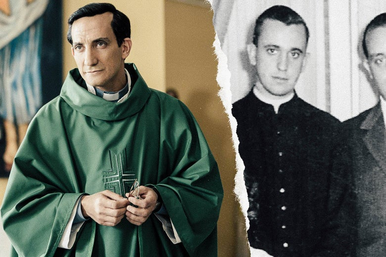 Juan Minujín as young Jorge Mario Bergoglio in The Two Popes; undated photo of the real Bergoglio.