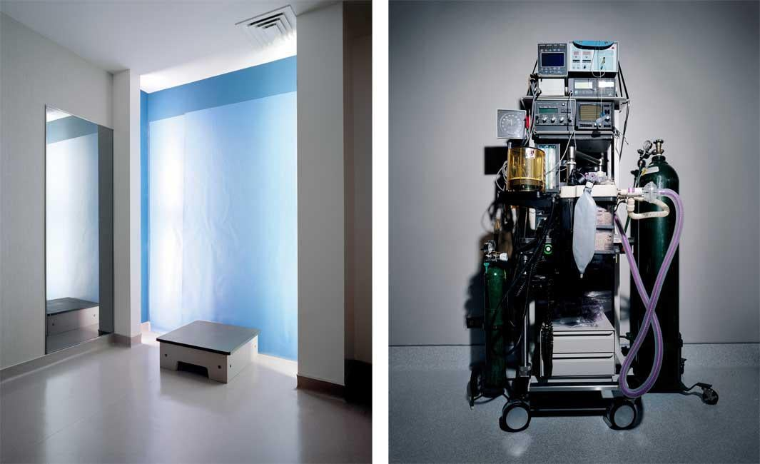 Left: Blue Before and After Room. Right: Green Anesthesia Machine