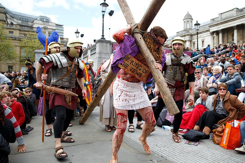 Actors perform The Passion of Jesus in Trafalgar Square on April 18, 2014 in London, England.