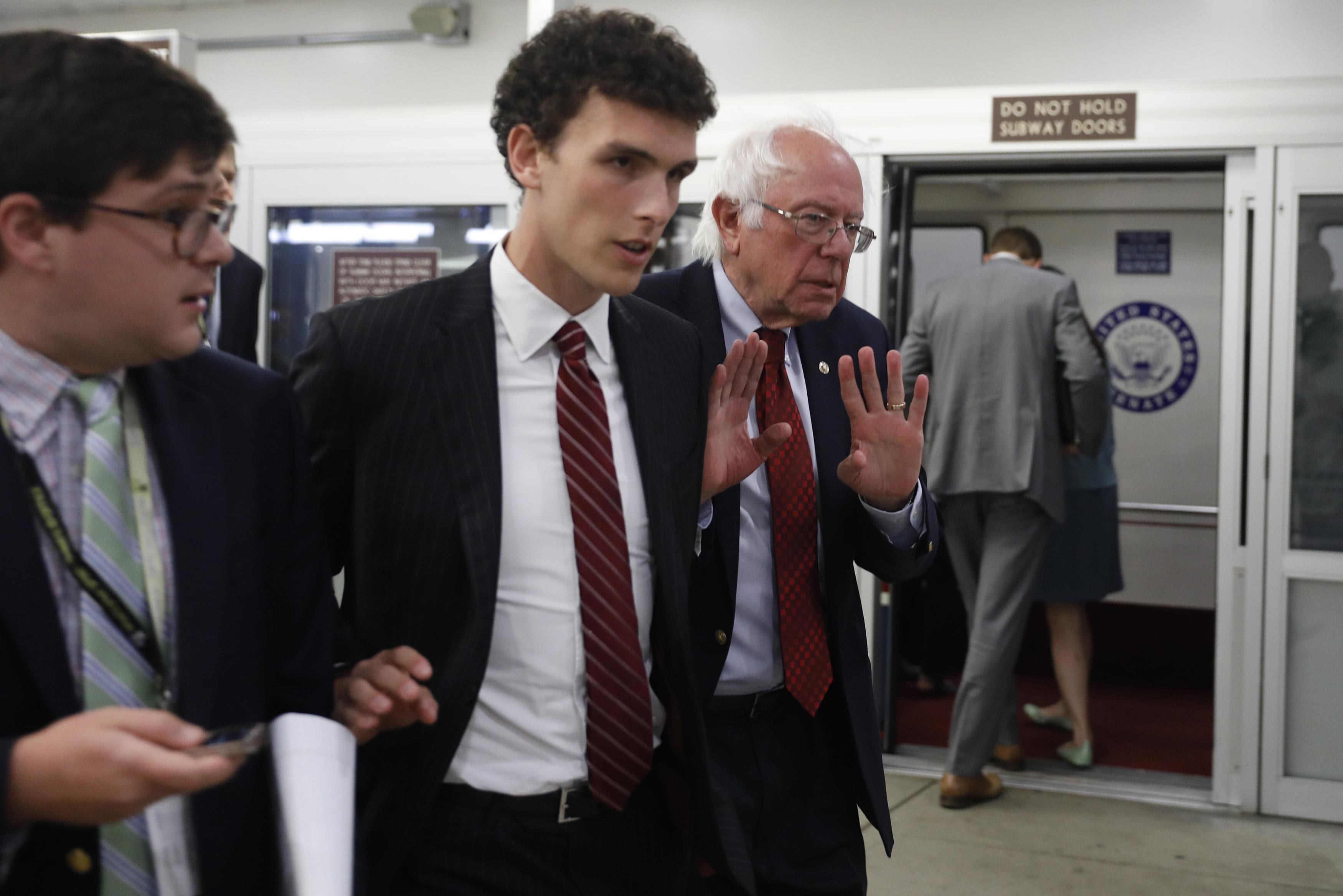 WASHINGTON, DC - SEPTEMBER 12:  U.S. Sen. Bernie Sanders (I-VT) declines to speak with a reporter ahead of the Democratic Party luncheon on Capitol Hill September 12, 2017 in Washington, DC. Sanders is expected to introduce a single payer health care bill this week .(Photo by Aaron P. Bernstein/Getty Images)