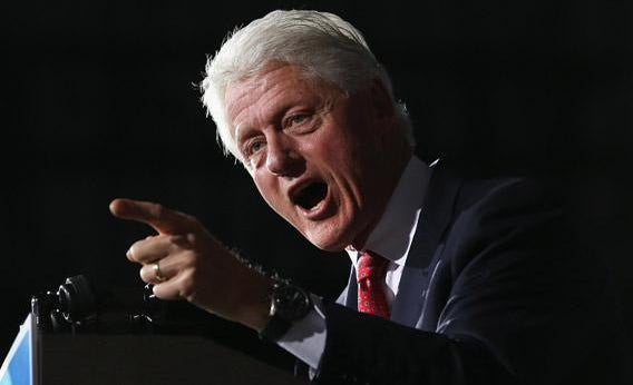 Bill Clinton speaks during a campaign rally on Wednesday in Youngstown, Ohio.