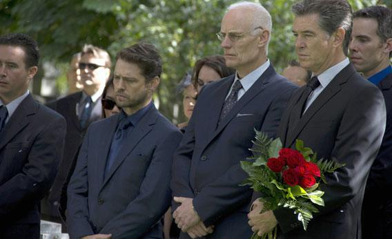 "Jason Priestley as ""Marty Oblowski,"" Matt Frewer as ""Sid Noonan"" and Pierce Brosnan as ""Mike Noonan"" in A&E's miniseries, ""Bag of Bones."""