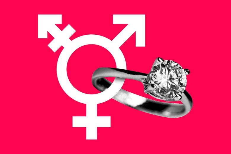 Diamond engagement ring intersecting with the Transgender symbol.
