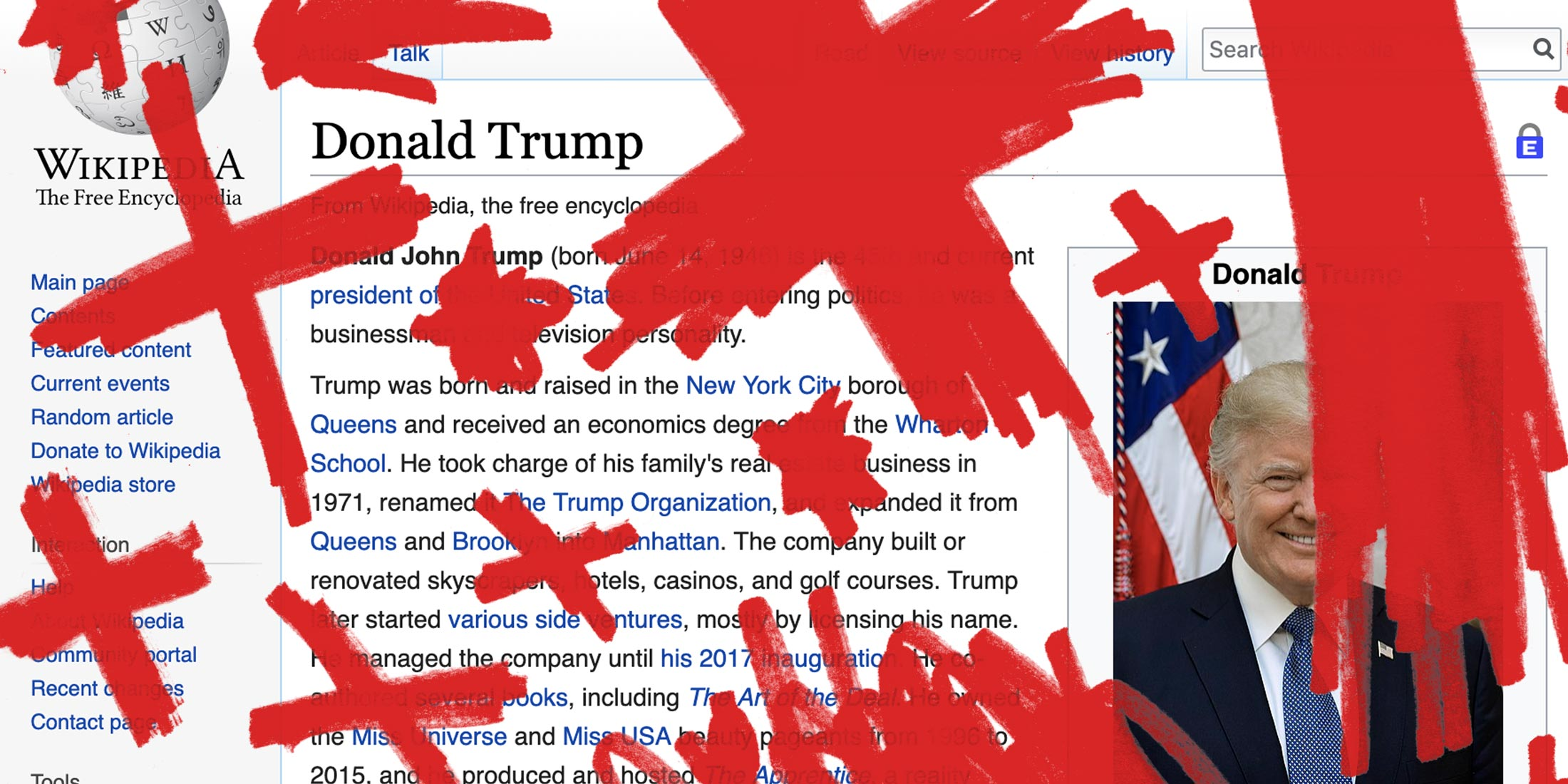 Donald Trump's Wikipedia page with red X's on it.