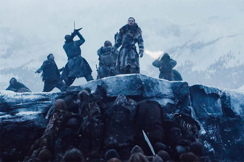 Jon Snow battles White Walkers in Game of Thrones.