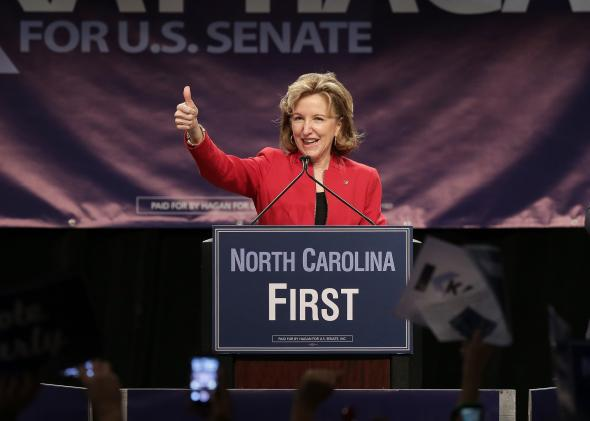Sen. Kay Hagan speaks at a campaign rally on Oct. 25, 2014, in Charlotte, North Carolina