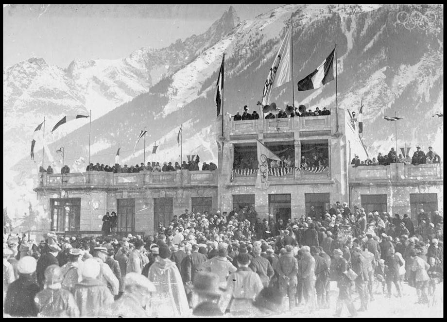The audience and the official stand, Chamonix, 1924.