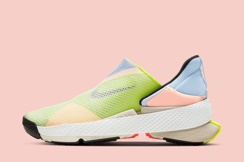 A blue, green, pink, and yellow Go FlyEase Shoe, which is laceless and has a tension band around it.