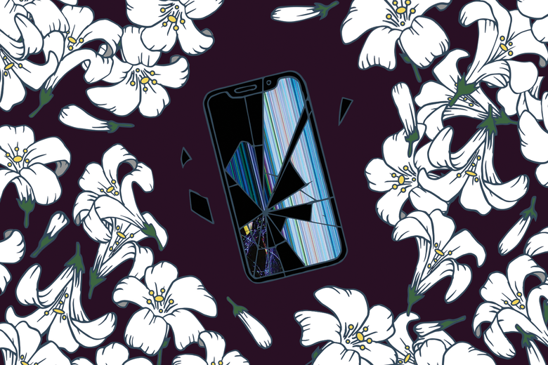 Flowers surround a cracked smartphone screen