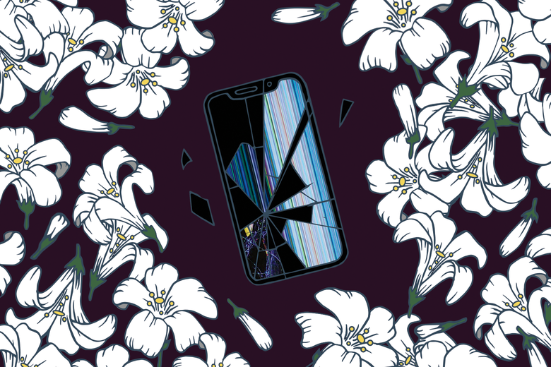 Flowers surround a cracked smartphone screen.