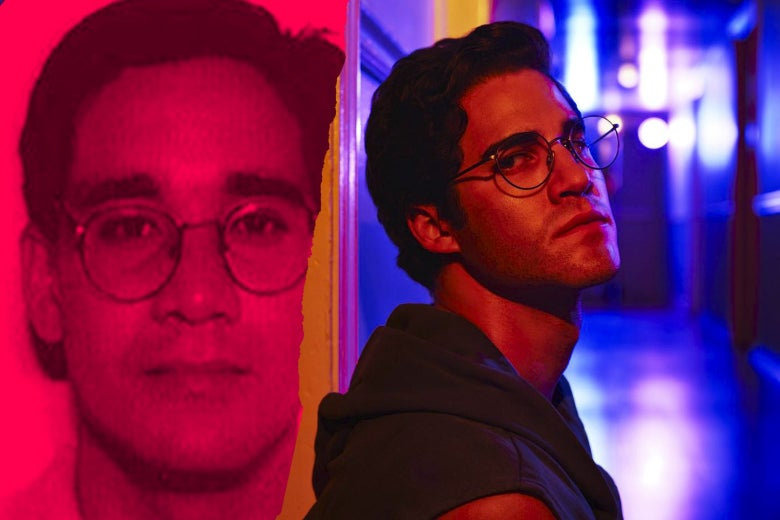Andrew Cunanan, left, and Darren Criss as Andrew Cunanan in American Crime Story