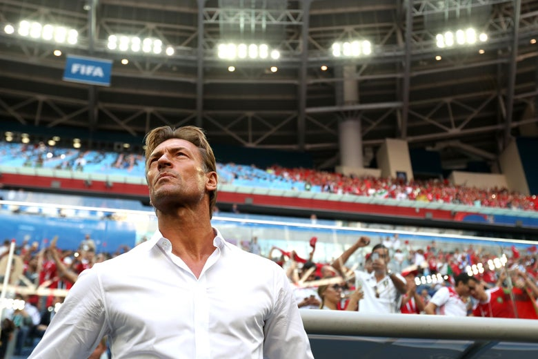 SAINT PETERSBURG, RUSSIA - JUNE 15:  Herve Renard, Head coach of Morocco looks on prior to the 2018 FIFA World Cup Russia group B match between Morocco and Iran at Saint Petersburg Stadium on June 15, 2018 in Saint Petersburg, Russia.  (Photo by Julian Finney/Getty Images)