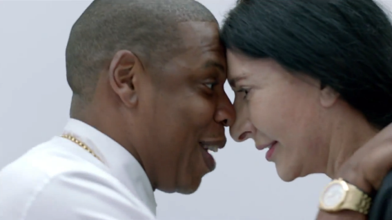 "Jay Z and Marina Abramovic in the video for ""Picasso Baby."""