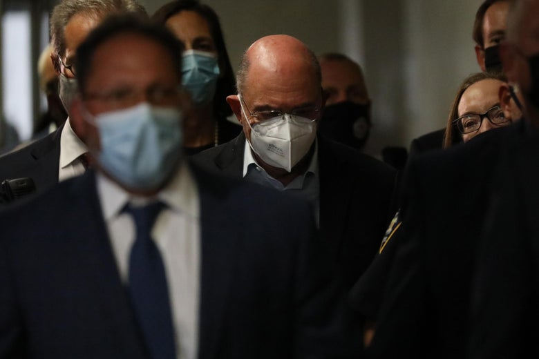 Trump Organization finance chief Allen Weisselberg leaves a New York court after surrendering to authorities on July 01, 2021 in New York City. According to reports, federal prosecutors with the Manhattan district attorney's office have charged the Trump Organization, and its CFO Weisselberg, with tax-related crimes. (Photo by Spencer Platt/Getty Images)