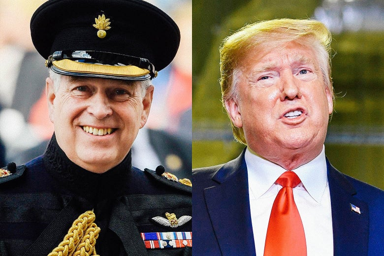 A side-by-side image of Prince Andrew and Donald Trump