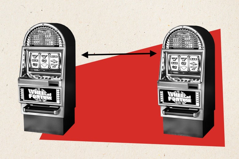 Two black-and-white slot machines on a red shape separated by an arrow.