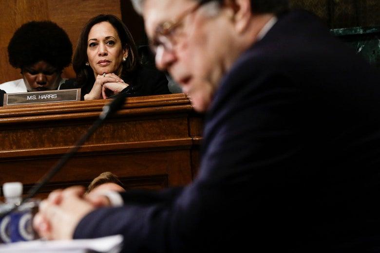 Sen. Kamala Harris listens to Attorney General William Barr's testimony on May 1 in Washington.
