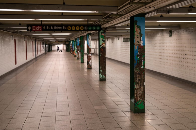 A subway station sits virtually empty at Union Square in Manhattan on June 01, 2020 in New York City. Amid the coronavirus pandemic, demonstrations rage demanding justice for George Floyd, the unarmed black man who died while in the custody of Minneapolis police on May 25 . (Photo by John Moore/Getty Images)
