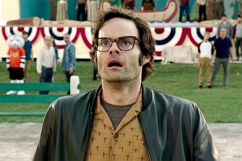 Bill Hader's looks up as if in surprise/horror.