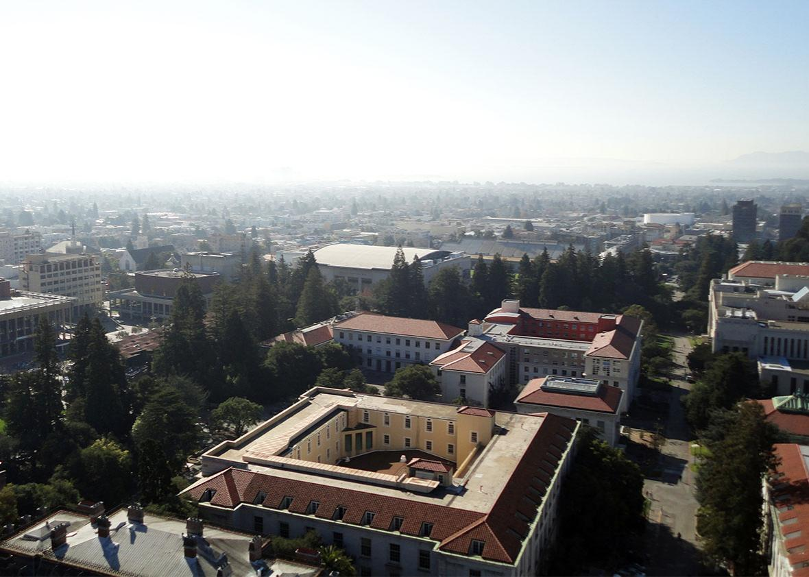 Birds eye view of Buildings of UC Berkeley Campus.