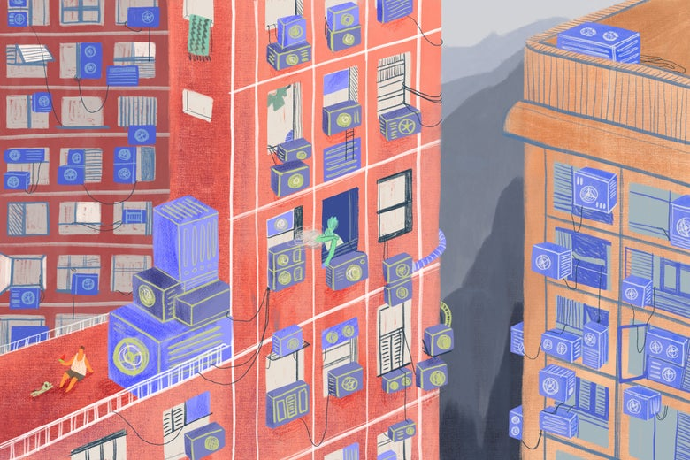 Apartment buildings with windows stuffed with air conditioners