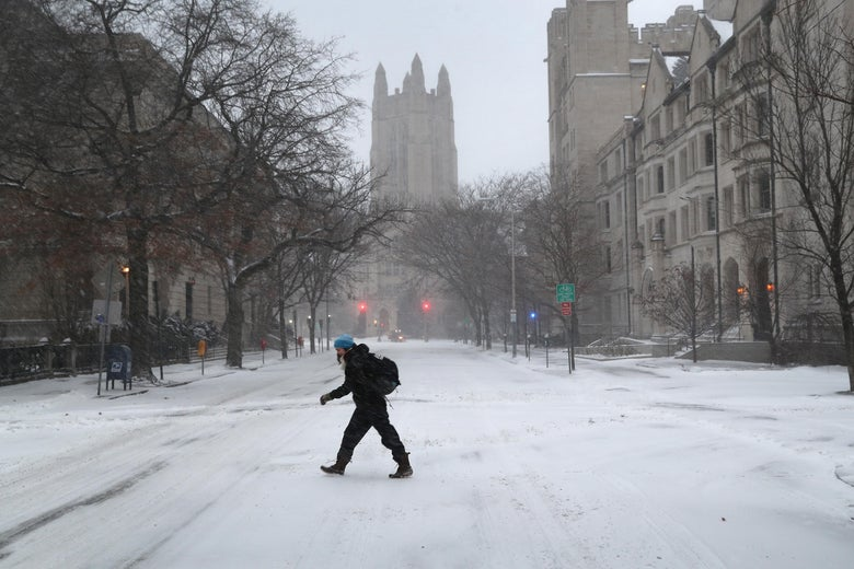 NEW HAVEN, CT - JANUARY 04:  A woman walks through the campus of Yale University on January 4, 2018 in New Haven, Conneticut. The 'bomb cyclone' was expected to dump heavy snows in New England as the storm system moved up the U.S. east coast. (Photo by John Moore/Getty Images)