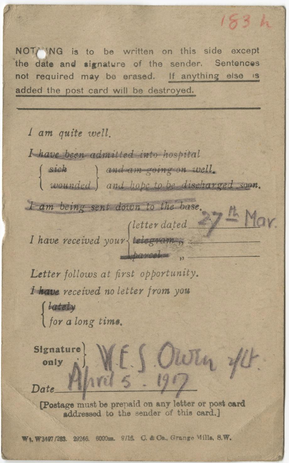 Wilfred Owen How The Poet Used A Form Postcard To Tell His