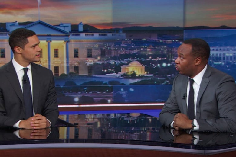 Trevor Noah and Roy Wood, Jr. on The Daily Show.