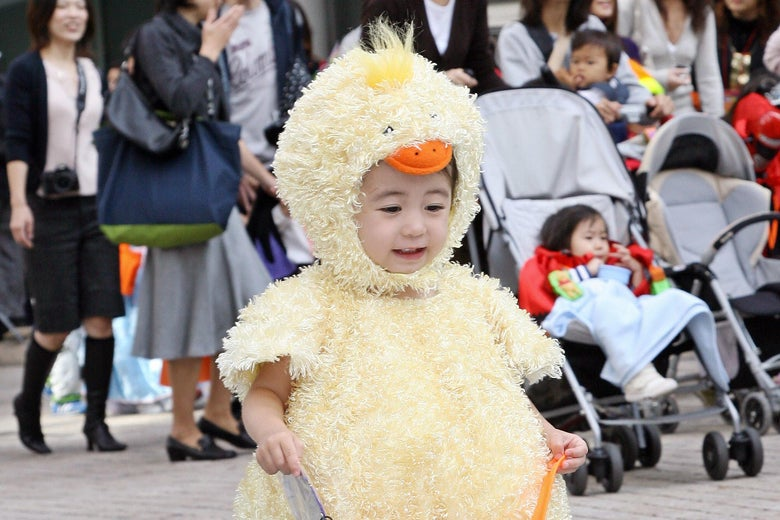 A little girl dressed as a baby chicken.