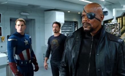 Samuel L. Jackson, Robert Downey Jr. and Chris Evans in The Avengers.
