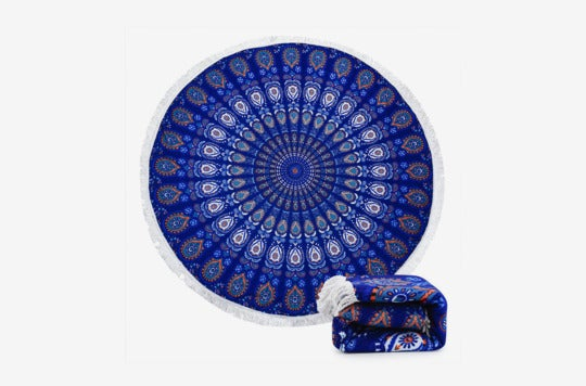Ricdecor Indian Mandala Microfiber Large Round Beach Blanket With Tassels.