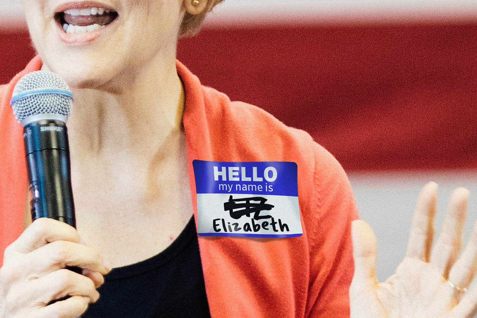 """Photo illustration of Elizabeth Warren wearing a name tag with """"Liz"""" crossed out."""