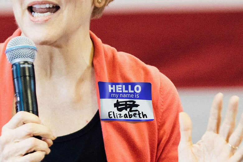 "Photo illustration of Elizabeth Warren wearing a name tag with ""Liz"" crossed out."