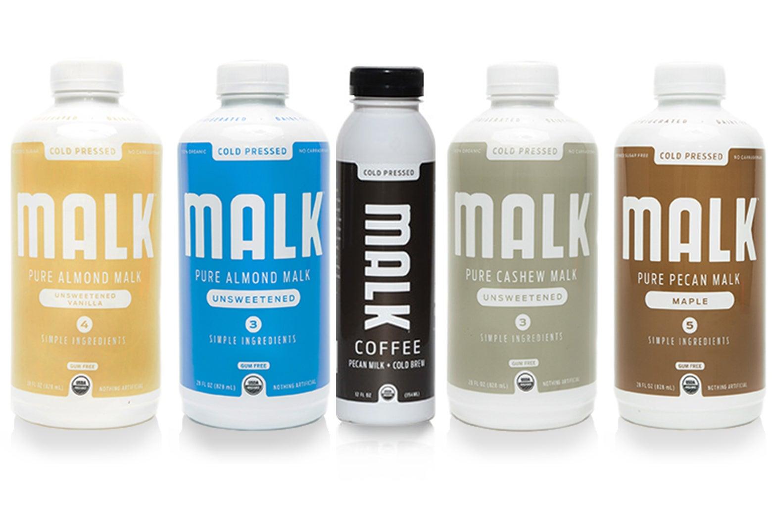 Five different varieties of Malk brand beverages.