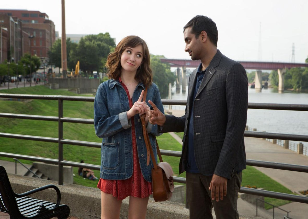 Noël Wells as Rachel and Aziz Ansari as Dev on Master of None.