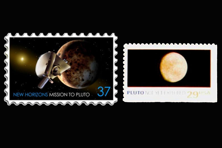 Two U.S. postage stamps included as cargo on New Horizons.