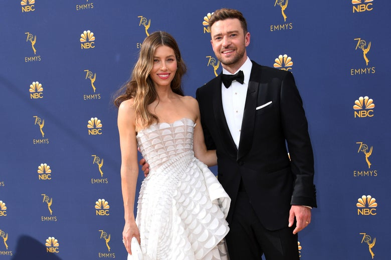 Jessica Biel and husband Justin Timberlake arrive for the 70th Emmy Awards.