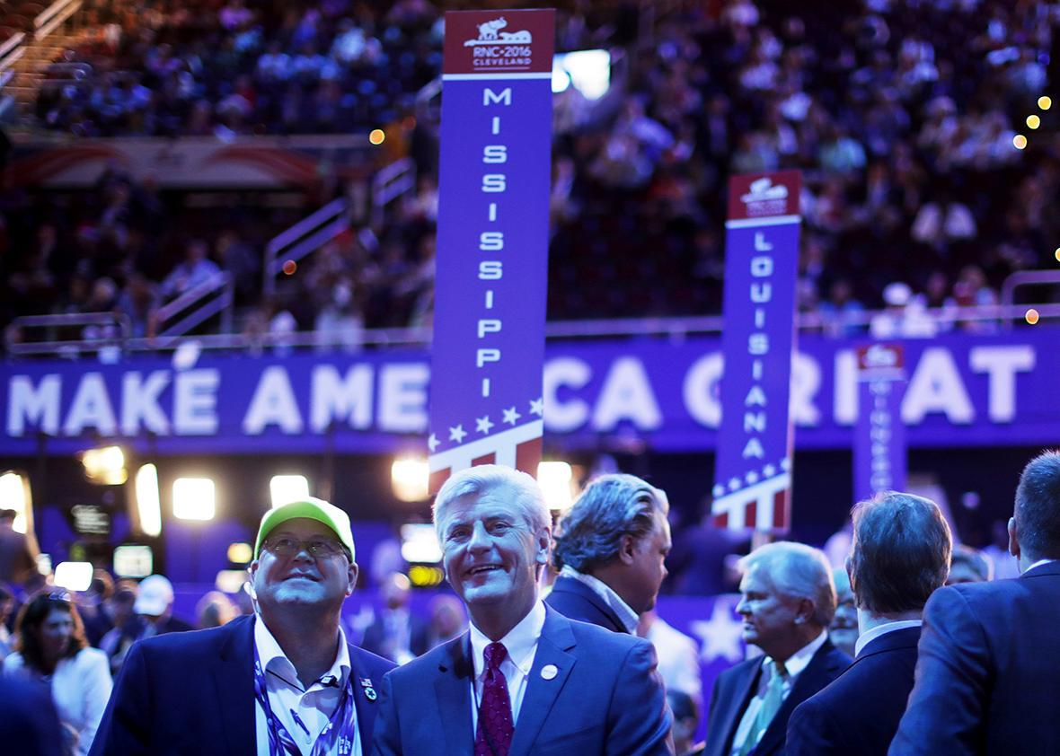 Mississipi Gov. Phil Bryant appears on the floor during the first day of the Republican National Convention on July 18, 2016 at the Quicken Loans Arena in Cleveland, Ohio.