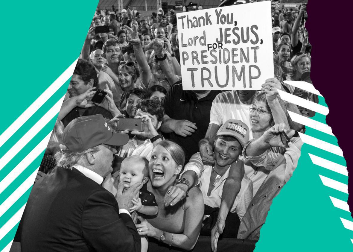 Republican presidential candidate Donald Trump greets supporters after his rally at Ladd-Peebles Stadium on August 21, 2015 in Mobile, Alabama.