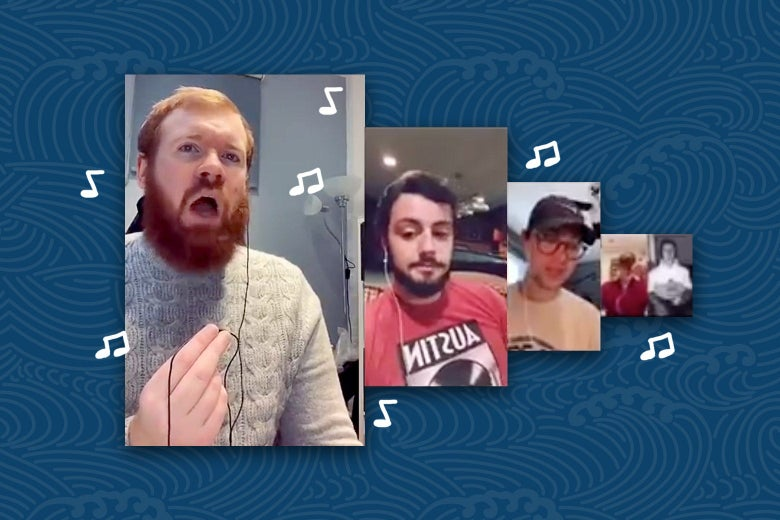 Screenshots of TikTokers singing shanties, surrounded by eighth notes.