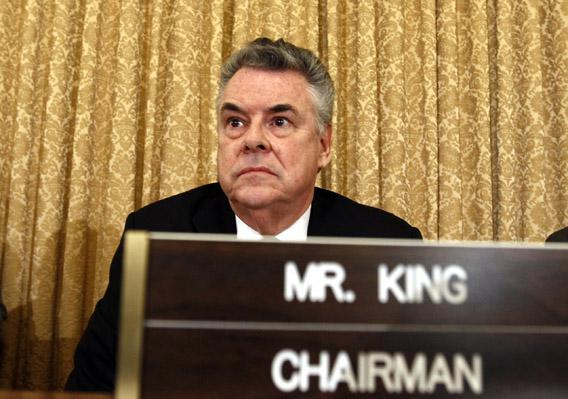 "House Homeland Security Committee Chairman Peter King (R-NY) listens during a hearing on ""The Extent of Radicalization in the American Muslim Community and that Community's Response""."