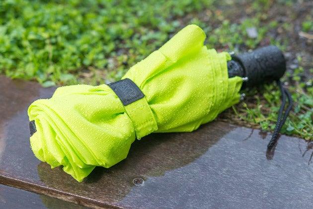 green umbrella on the grass