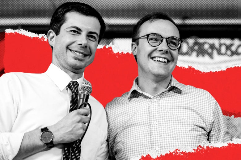 Pete Buttigieg smiles while holding a microphone with Chasten smiling beside him.