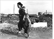 Japanese woman and children