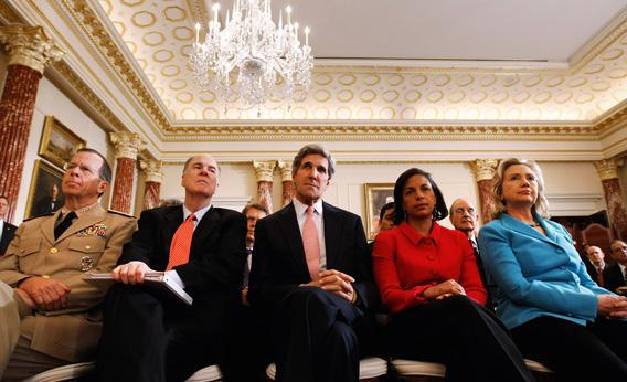 Chairman of the Joint Chiefs of Staff Admiral Mike Mullen, National Security Adviser Tom Donlion, Sen. John Kerry (D-MA), UN Ambassador Susan Rice.