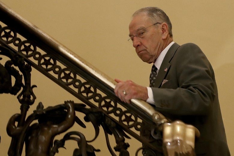 Sen. Chuck Grassley, Republican chairman of the Senate Judiciary Committee, leaves a meeting at the U.S. Capitol on Nov. 9.