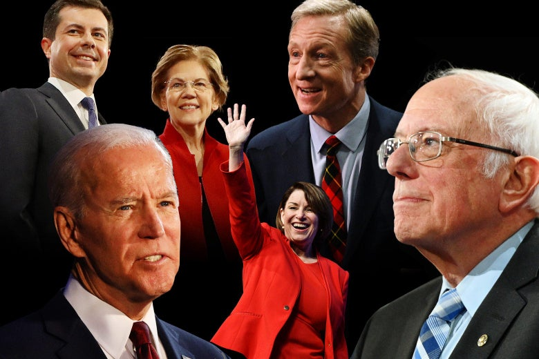 A collage of candidates. Clockwise from top left: Pete Buttigieg, Elizabeth Warren, Tom Steyer, Bernie Sanders, Amy Klobuchar, and Joe Biden.