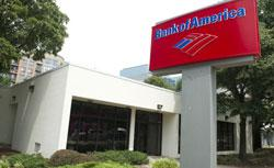 A Bank of America sign it seen outside a bank branch in Arlington, Virginia. Click image to expand.